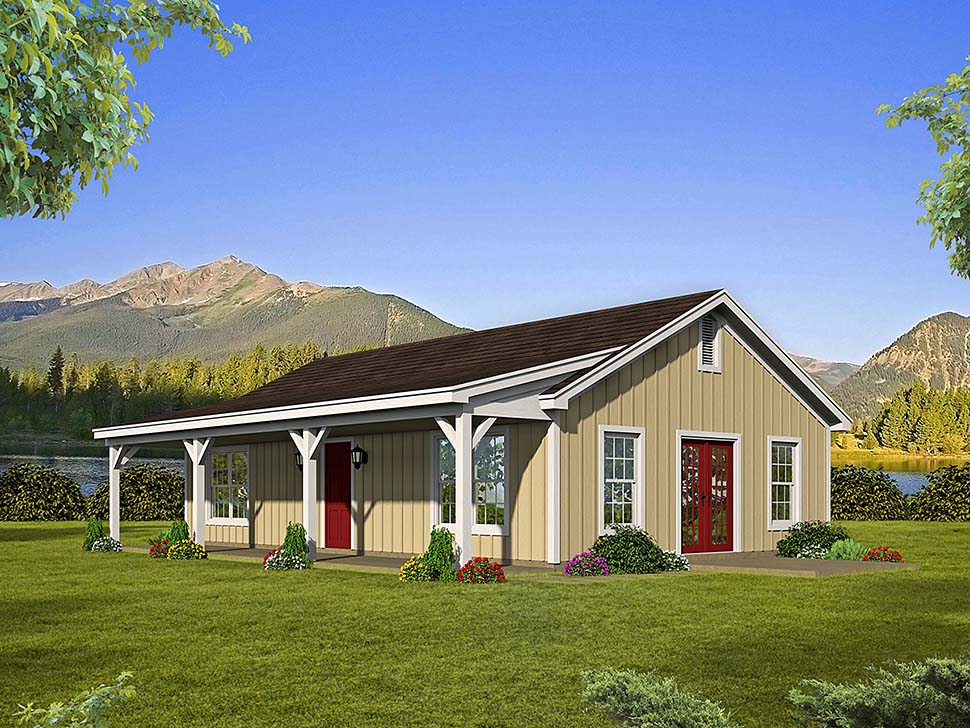 Country , Ranch , Elevation of Plan 51610