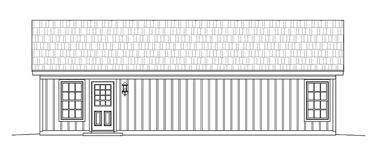 Country , Ranch , Rear Elevation of Plan 51610
