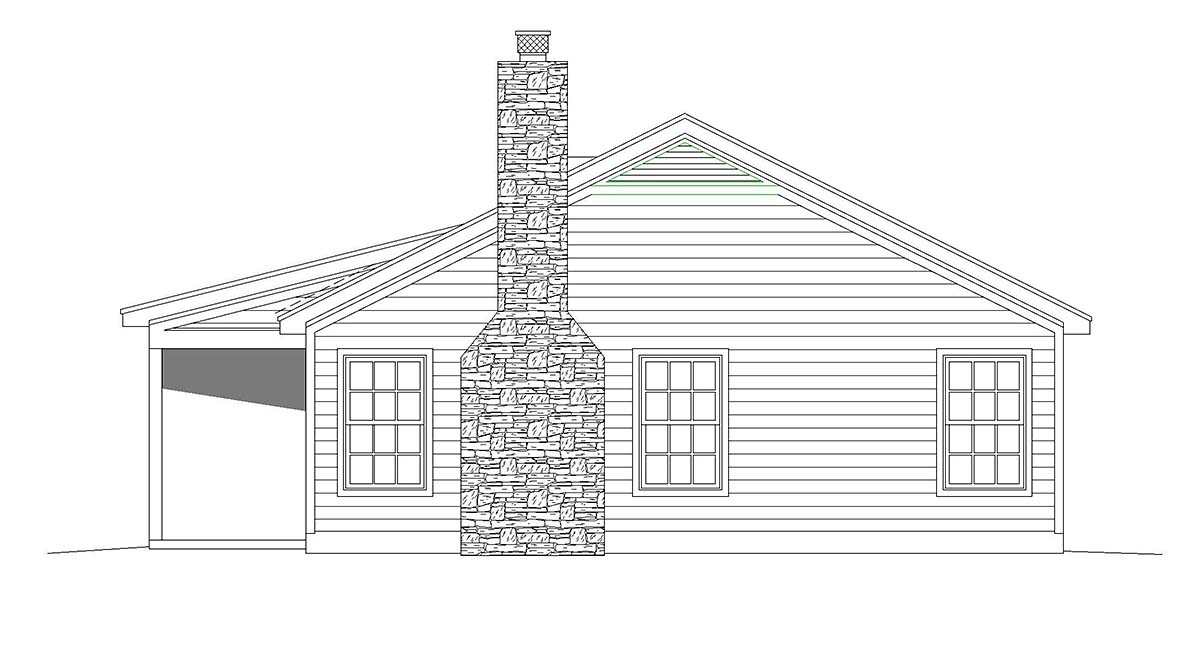 Cabin, Country House Plan 51616 with 2 Beds, 1 Baths Picture 1