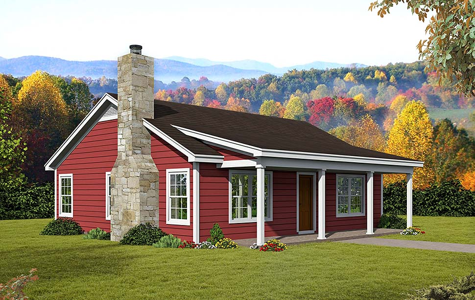 Cabin , Country , Ranch , Southern House Plan 51618 with 2 Beds, 1 Baths Elevation