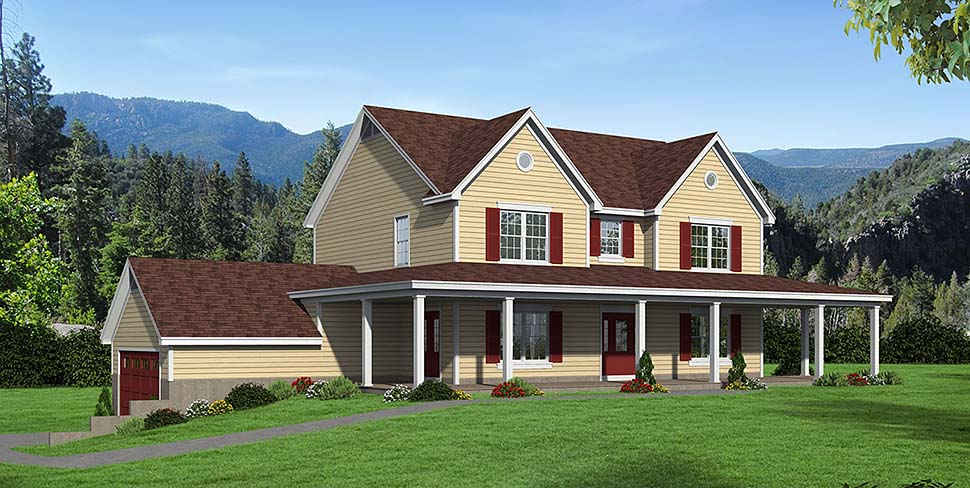Country Farmhouse Elevation of Plan 51621