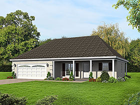 European Ranch Southern Traditional House Plan 51623 Elevation