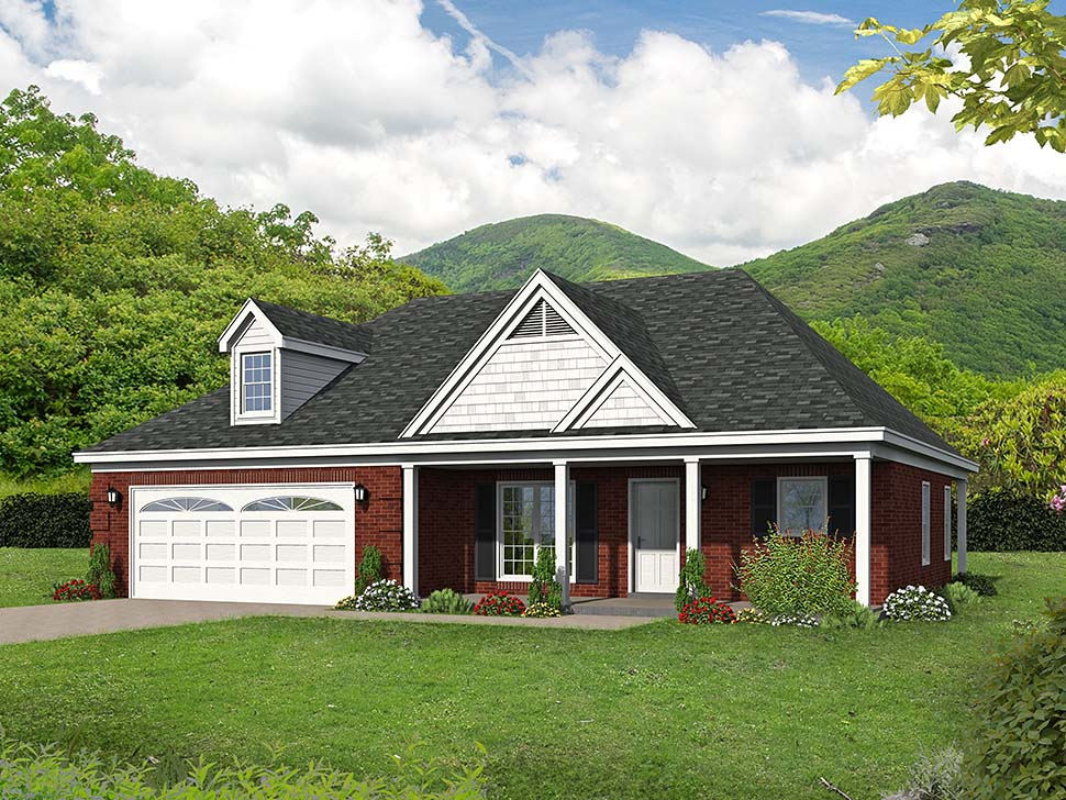 European, Ranch, Southern, Traditional House Plan 51623 with 2 Beds, 2 Baths, 2 Car Garage Picture 3