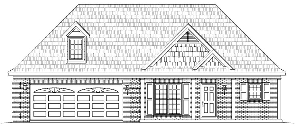 European, Ranch, Southern, Traditional House Plan 51623 with 2 Beds, 2 Baths, 2 Car Garage Picture 4