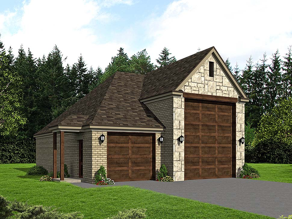 3 Car Garage Plan 51624, RV Storage Elevation
