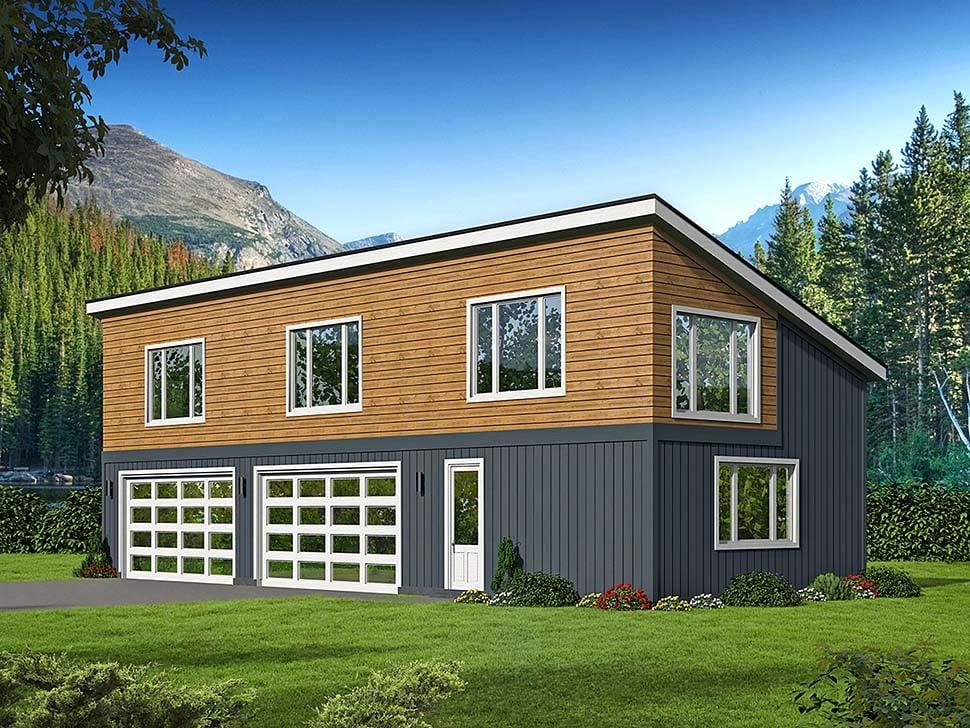 Contemporary Modern Garage Plan 51625 Elevation
