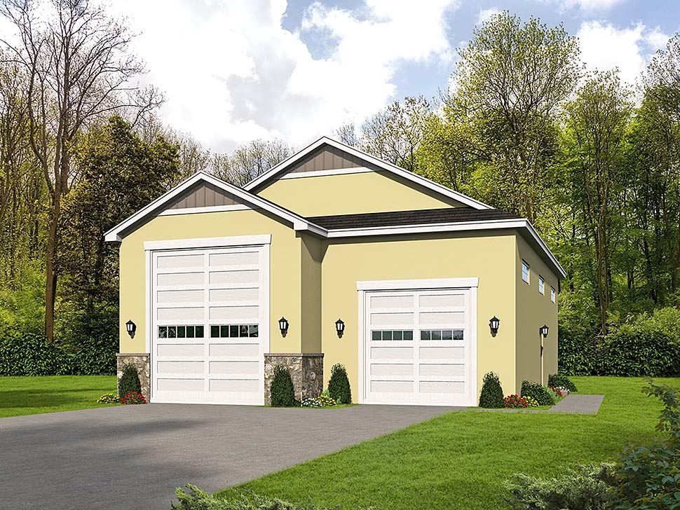 Traditional 3 Car Garage Plan 51626, RV Storage Elevation