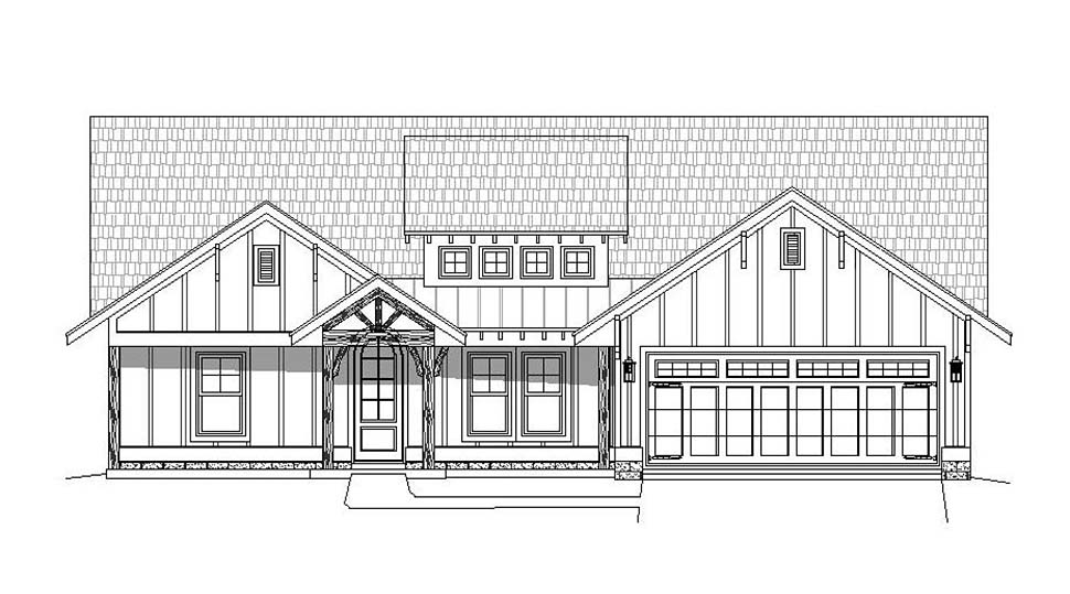 Country, Craftsman, Southern House Plan 51631 with 3 Beds, 3 Baths, 2 Car Garage Picture 3