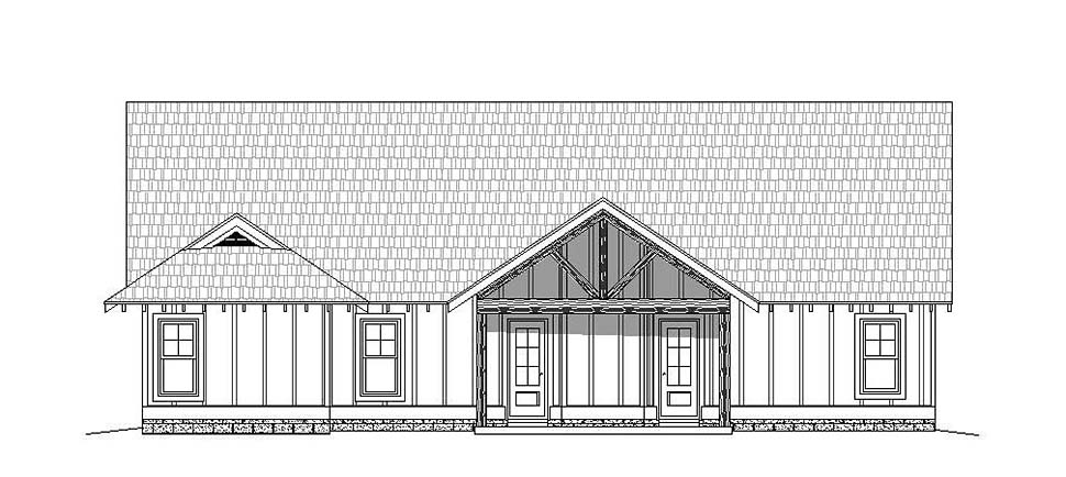 House Plan 51631 | Country Craftsman Southern Style Plan with 2095 Sq Ft, 3 Bedrooms, 3 Bathrooms, 2 Car Garage Rear Elevation