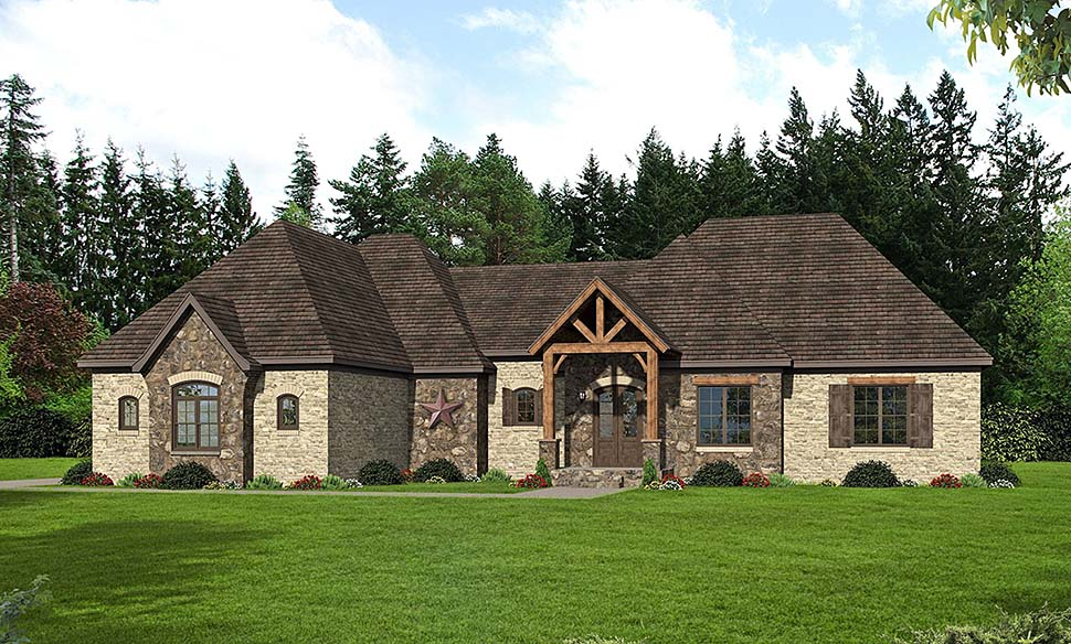 French Country House Plan 51633 with 3 Beds, 4 Baths, 2 Car Garage Elevation