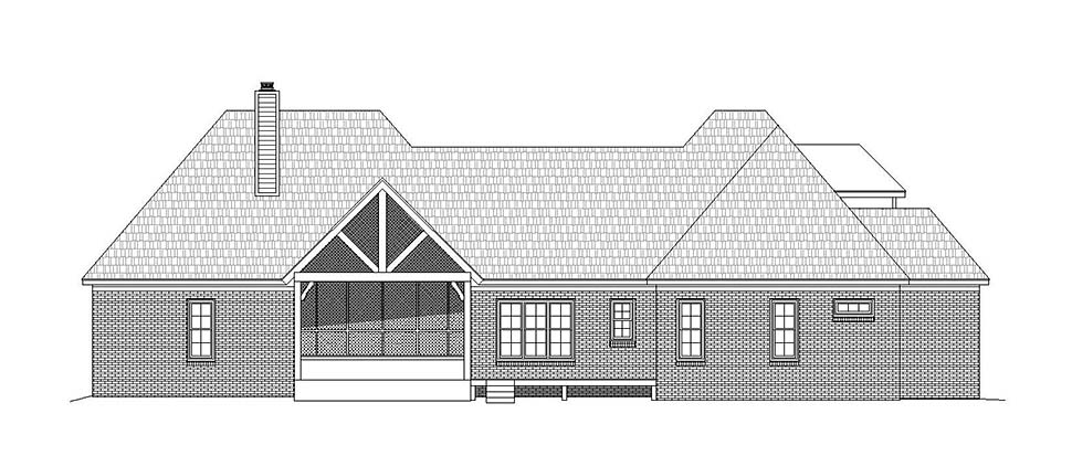 French Country House Plan 51633 with 3 Beds, 4 Baths, 2 Car Garage Rear Elevation