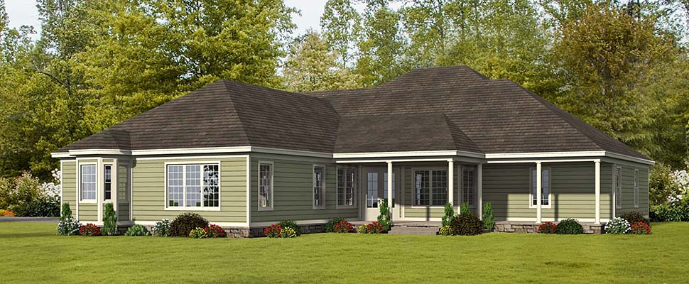 European, French Country, Ranch House Plan 51635 with 4 Beds, 5 Baths, 3 Car Garage Rear Elevation