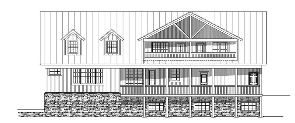 Country Southern Rear Elevation of Plan 51637