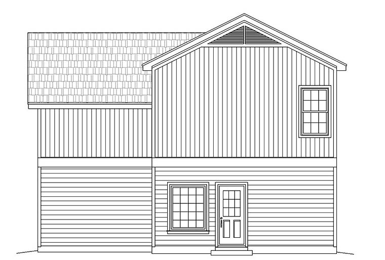 Colonial , Southern , Traditional , Rear Elevation of Plan 51638