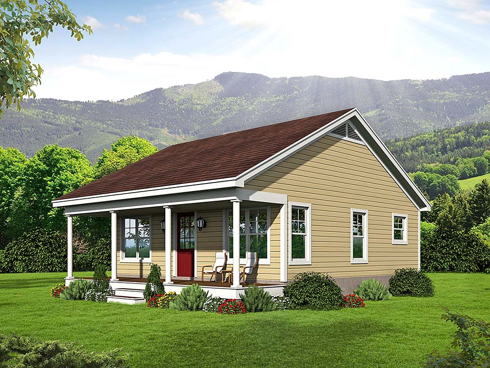 Cabin , Country , Southern , Traditional , Elevation of Plan 51640