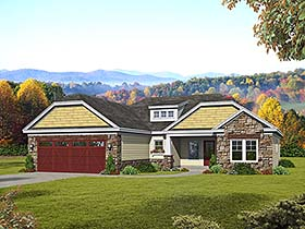 Cottage Craftsman Ranch Southern House Plan 51647 Elevation