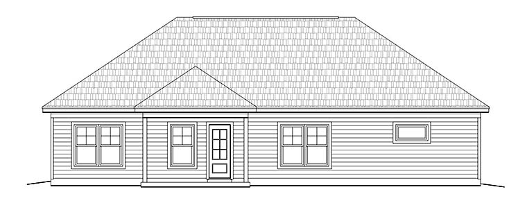 Cottage, Craftsman, Ranch, Southern, House Plan 51647 with 3 Beds, 2 Baths, 2 Car Garage Rear Elevation