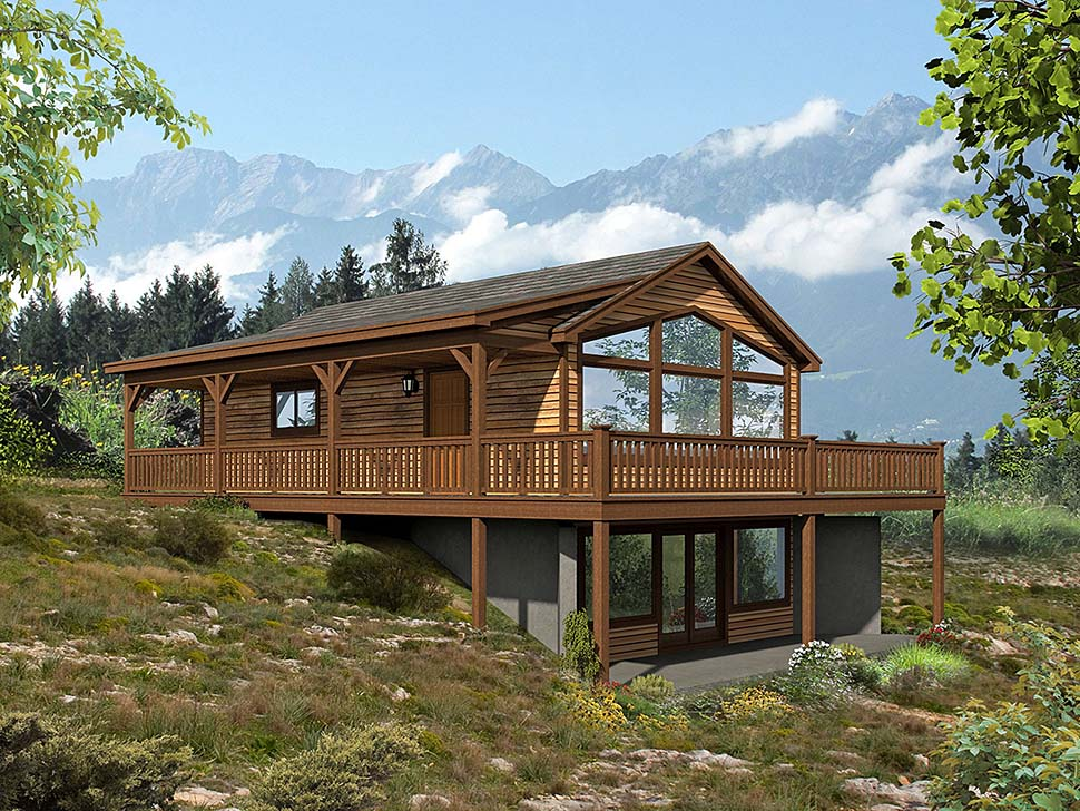 Traditional , Country , Contemporary , Cabin House Plan 51648 with 2 Beds, 2 Baths Elevation