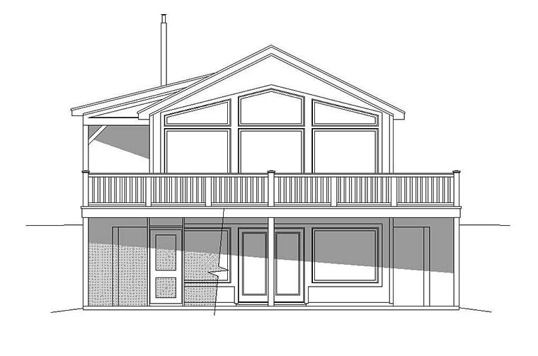 Traditional , Country , Contemporary , Cabin House Plan 51648 with 2 Beds, 2 Baths Rear Elevation