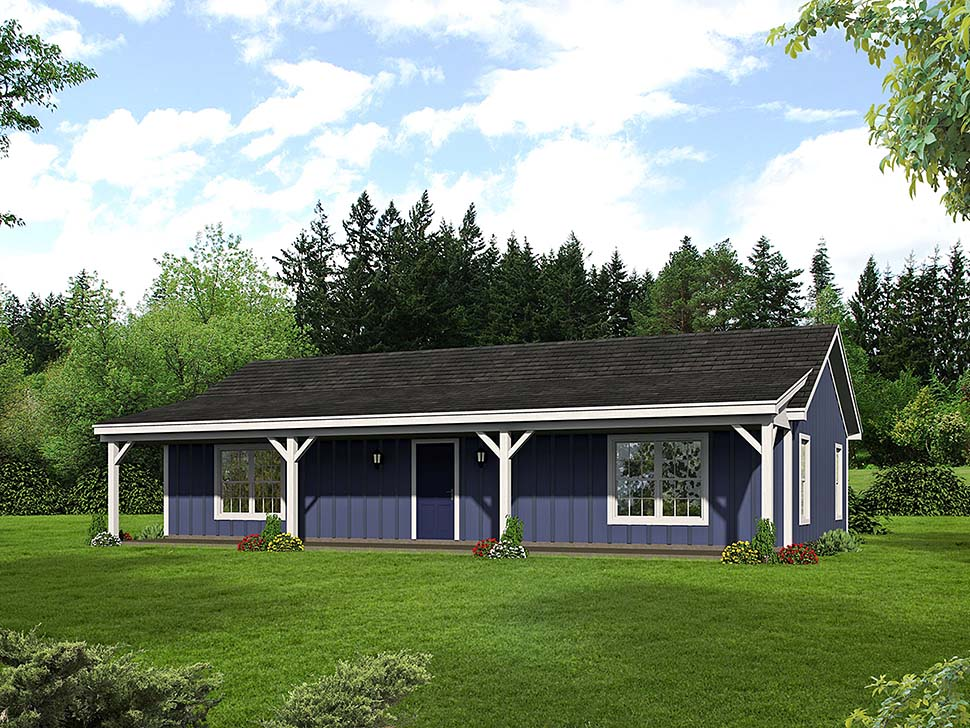 Cabin , Ranch , Southern House Plan 51650 with 2 Beds, 1 Baths Elevation