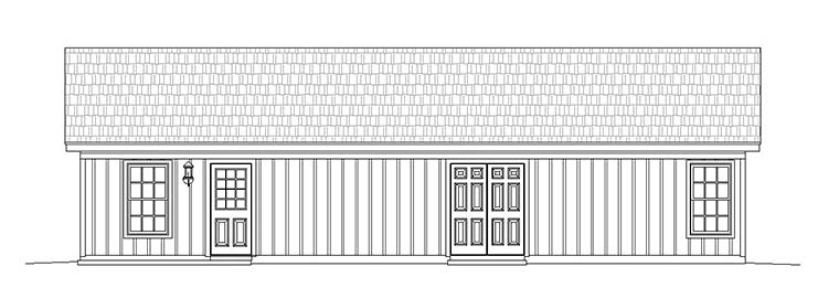 Cabin , Ranch , Southern House Plan 51650 with 2 Beds, 1 Baths Rear Elevation