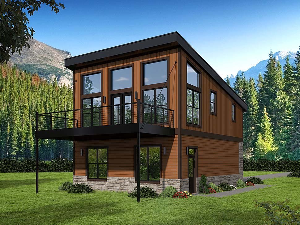 Contemporary, Modern 2 Car Garage Apartment Plan 51652 with 1 Beds, 1 Baths Elevation