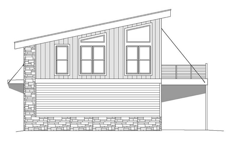 Coastal, Contemporary, Modern Garage-Living Plan 51652 with 1 Beds, 1 Baths, 2 Car Garage Picture 1