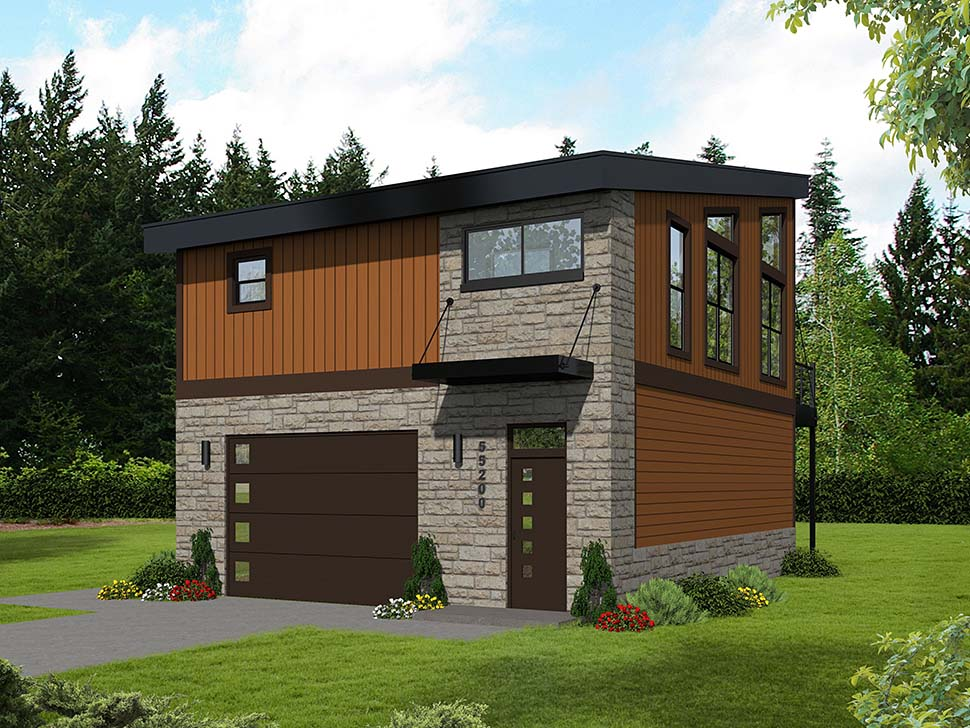 Contemporary , Modern 2 Car Garage Apartment Plan 51652 with 1 Beds, 1 Baths Rear Elevation