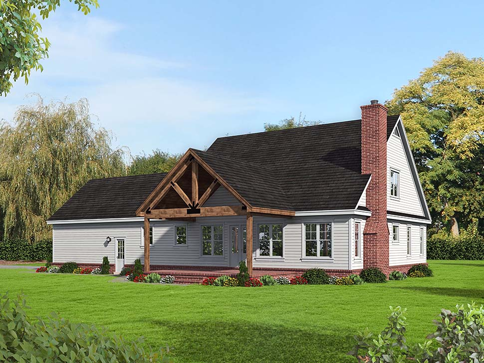 Country, Southern House Plan 51655 with 4 Beds, 3 Baths, 2 Car Garage Rear Elevation