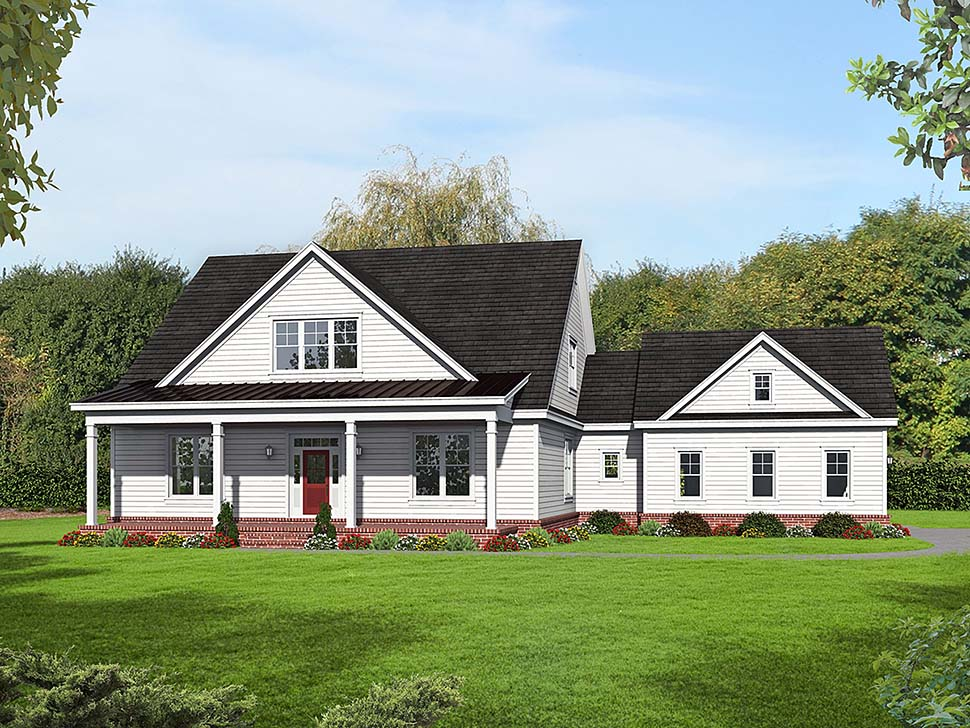 Country, Farmhouse House Plan 51656 with 3 Beds, 2 Baths, 2 Car Garage Elevation