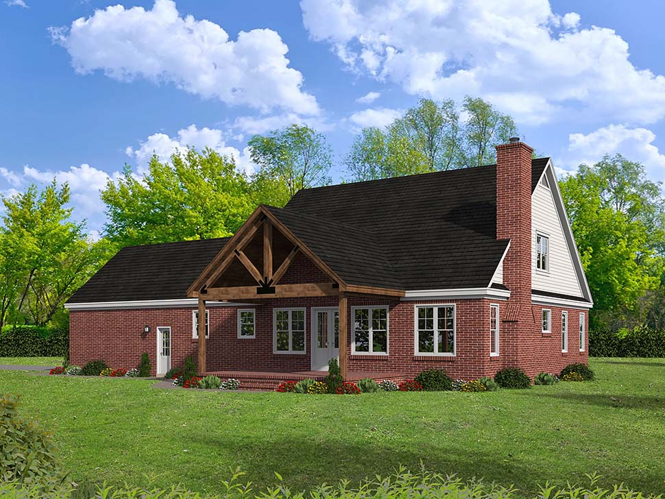 House Plan 51657 | Cottage Country Southern Style Plan with 2270 Sq Ft, 3 Bedrooms, 2 Bathrooms, 2 Car Garage Rear Elevation