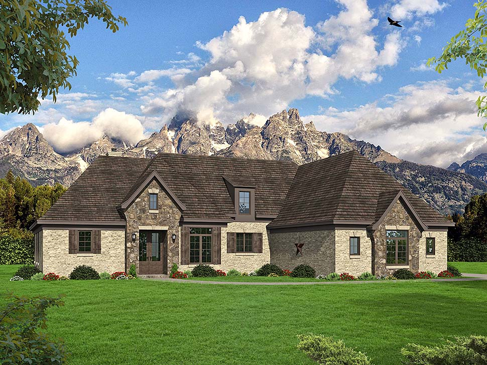 European , French Country House Plan 51659 with 4 Beds, 4 Baths, 4 Car Garage Elevation