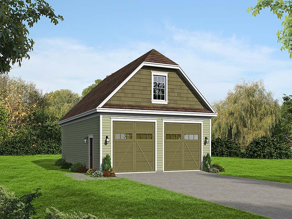 2 Car Garage Plan 51663, RV Storage Elevation