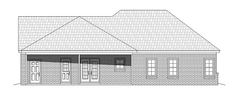 Craftsman , Ranch , Traditional , Rear Elevation of Plan 51665
