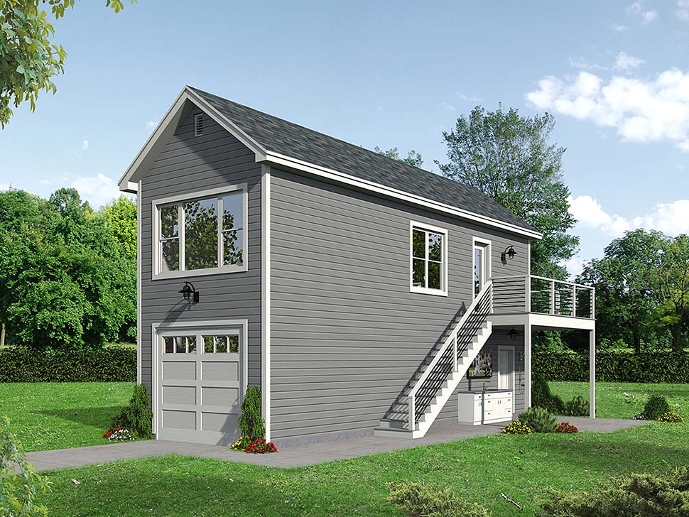 Bungalow , Cape Cod , Coastal , Contemporary , Country , Craftsman , European , Farmhouse , Modern , Saltbox , Traditional 1 Car Garage Apartment Plan 51666 Elevation