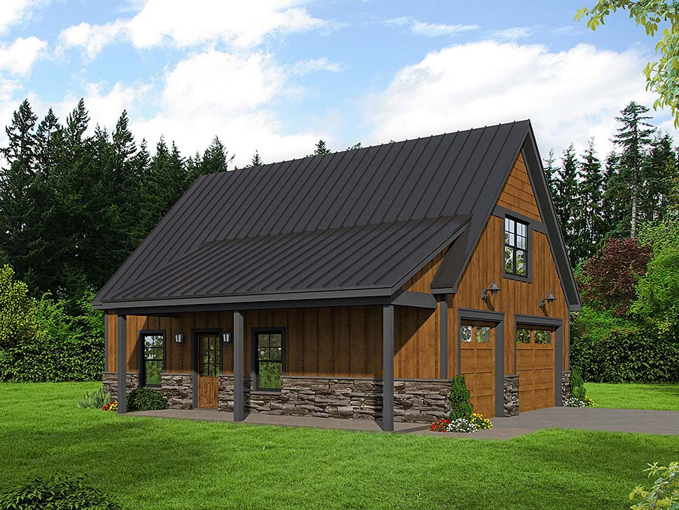 Bungalow , Country , Craftsman , Traditional 2 Car Garage Apartment Plan 51667 with 1 Beds, 1 Baths Elevation