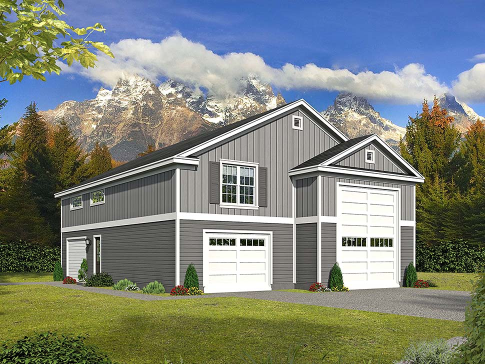 Garage Plan 51668 | Cape Cod Contemporary Country Saltbox Traditional Style Plan with 1200 Sq Ft, 1 Bedrooms, 2 Bathrooms, 3 Car Garage Elevation