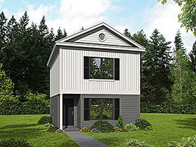House Plan 51670 | Cape Cod Coastal Colonial Country Saltbox Traditional Style Plan with 999 Sq Ft, 2 Bedrooms, 2 Bathrooms Elevation
