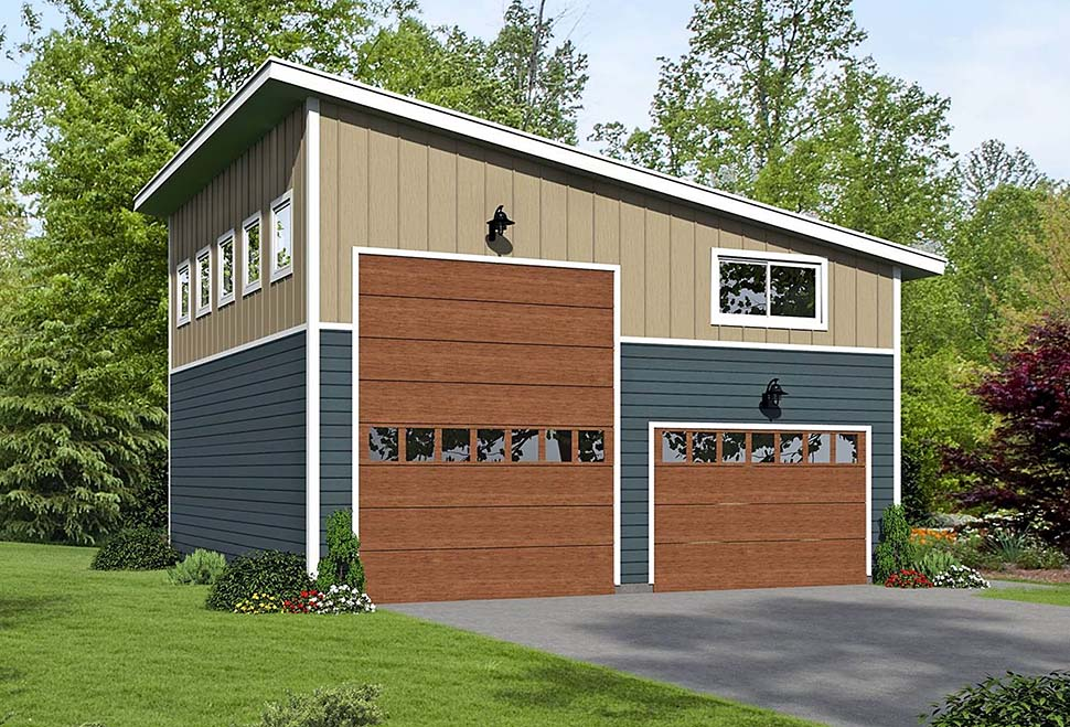 Garage Plan 51671 | Cape Cod Contemporary Saltbox Traditional Style Plan, 4 Car Garage Elevation