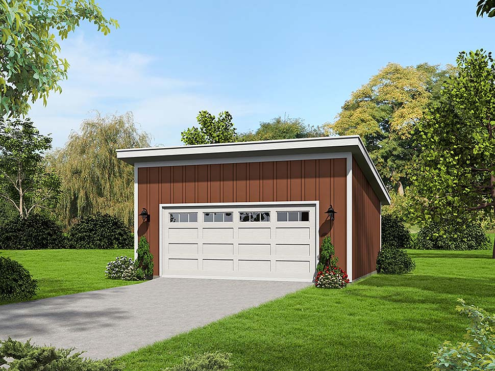 Garage Plan 51672 | Cape Cod Coastal Contemporary Saltbox Style Plan, 2 Car Garage Elevation