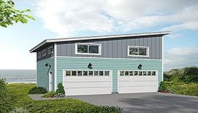 Garage Plan 51675 | Cape Cod Coastal Contemporary Modern Saltbox Style Plan, 2 Car Garage Elevation