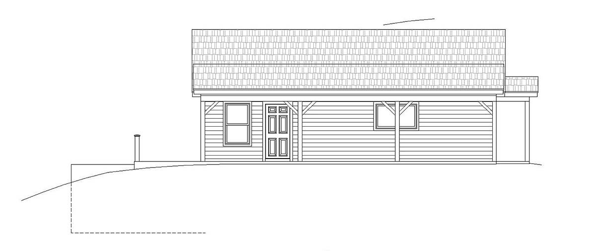 Cape Cod, Country, Farmhouse, Ranch, Saltbox, Traditional House Plan 51676 with 2 Beds, 2 Baths Rear Elevation
