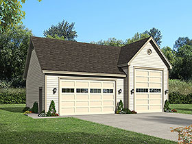 Garage Plan 51677 | Bungalow Cape Cod Coastal Colonial Contemporary Cottage Country Craftsman Farmhouse Modern Prairie Style Ranch Saltbox Traditional Tudor Style Plan, 3 Car Garage Elevation