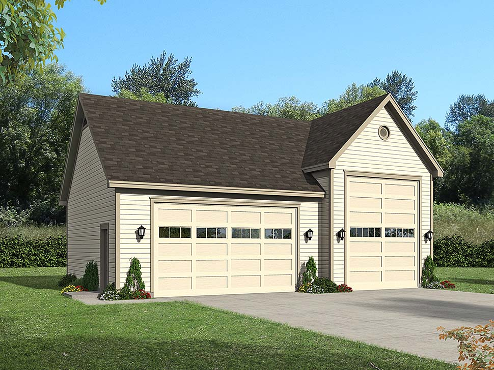 Bungalow, Cape Cod, Coastal, Colonial, Contemporary, Cottage, Country, Craftsman, Farmhouse, Modern, Prairie, Ranch, Saltbox, Traditional, Tudor 3 Car Garage Plan 51677, RV Storage Elevation