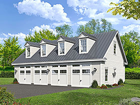 Garage Plan 51682   Bungalow Cape Cod Colonial Country Craftsman European Farmhouse Historic Ranch Saltbox Traditional Style Plan, 4 Car Garage Elevation