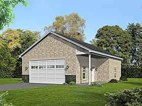 Garage Plan 51683 | Colonial European Ranch Traditional Style Plan, 2 Car Garage Elevation