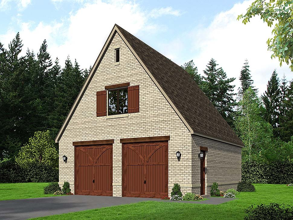 Garage Plan 51684 | European French Country Traditional Style Plan, 2 Car Garage Elevation