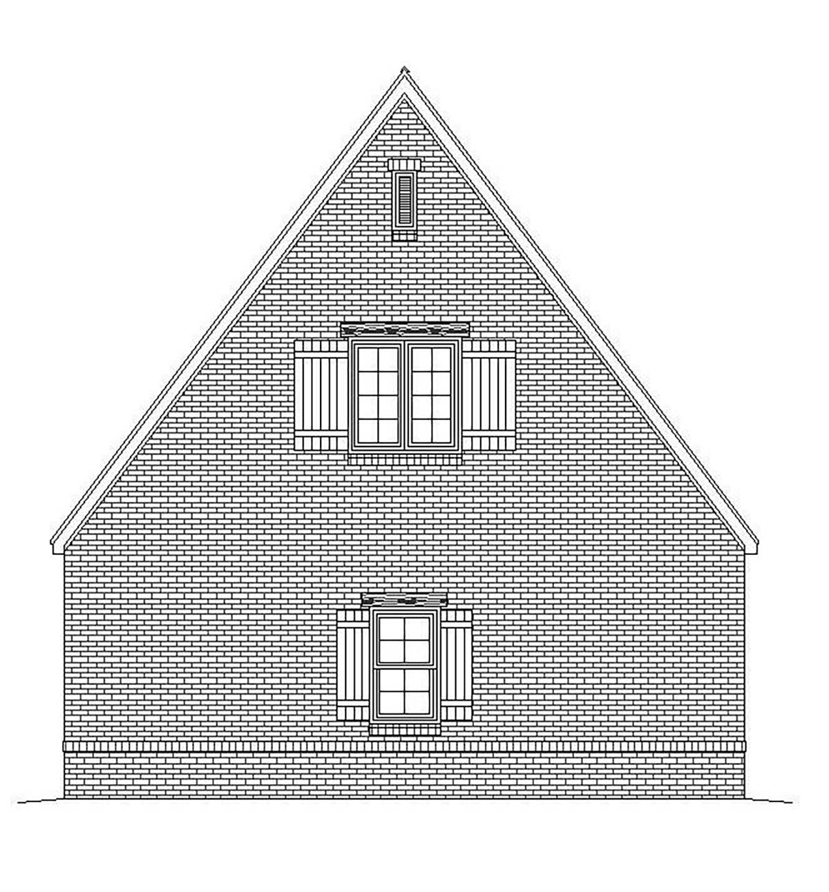 European , French Country , Traditional 2 Car Garage Plan 51684 Rear Elevation