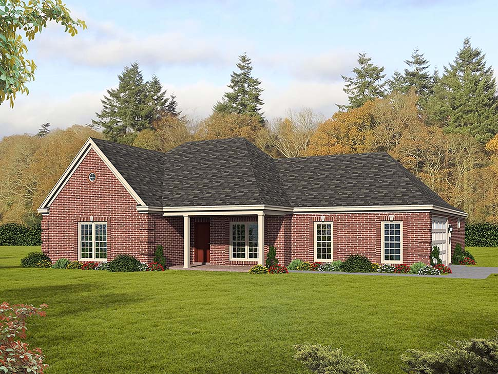 Country, Ranch, Traditional House Plan 51685 with 3 Beds, 3 Baths, 2 Car Garage Elevation