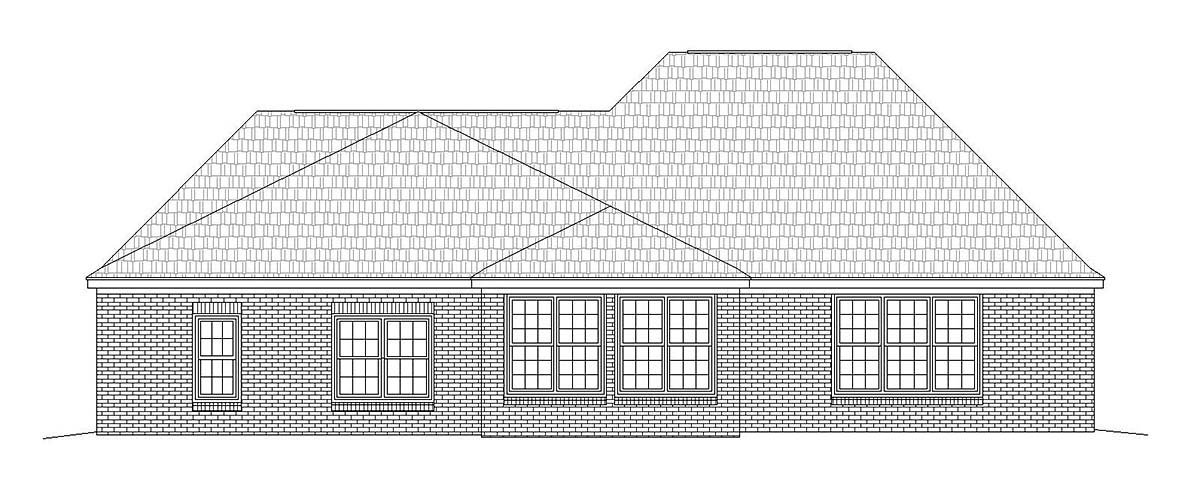 Country, Ranch, Traditional House Plan 51685 with 3 Beds, 3 Baths, 2 Car Garage Rear Elevation